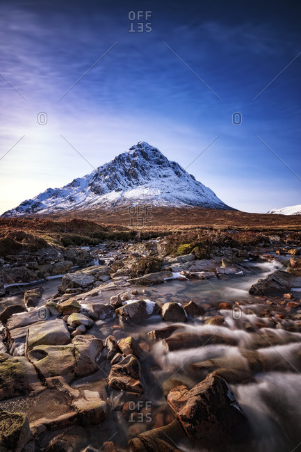 Scotland, Highlands, Glencoe, Glen Etive, view to Buachaille Etive Mor