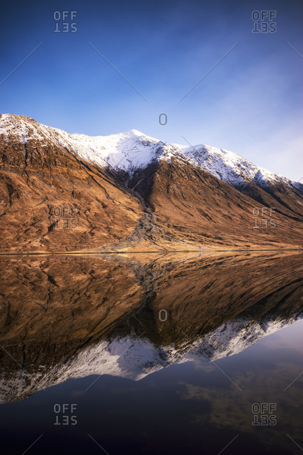 Scotland, Highlands, Loch Etive with snow-covered Ben Starav in the background