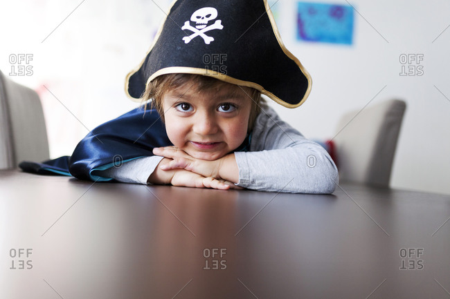Portrait of little boy dressed up as a pirate