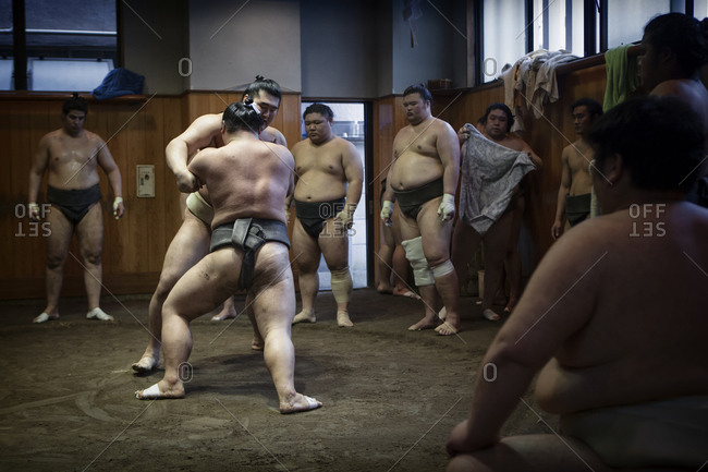 Ryoguku, Japan - June 11, 2014: Sumo wrestling in Japan