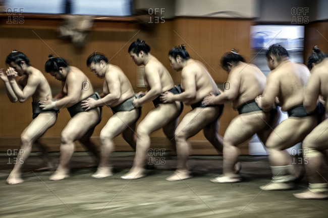 Japan - June 11, 2014: Sumo wrestling in Japan