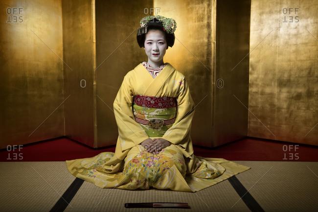 Japan - June 17, 2014: Geisha in a tea house
