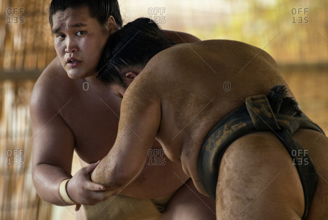 Japan - July 3, 2014: Sumo wrestlers competing