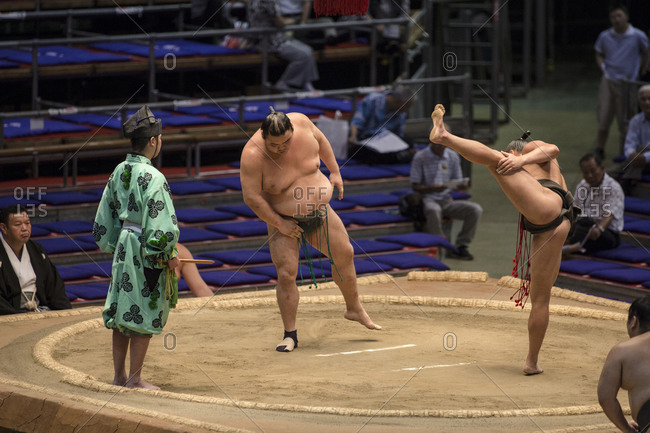 Japan - July 15, 2014: Sumo wrestlers competing