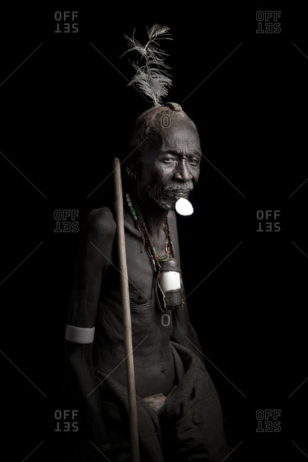 Africa - July 26, 2011: Portrait of an Arbore tribesman on a dark background