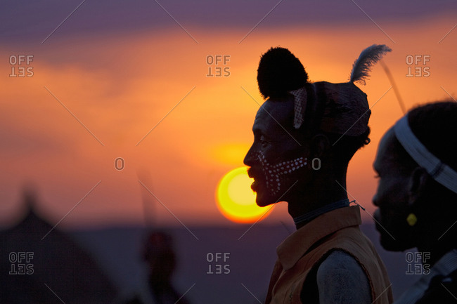 Africa - July 29, 2011: Portrait of an Hamar tribesman at sunset