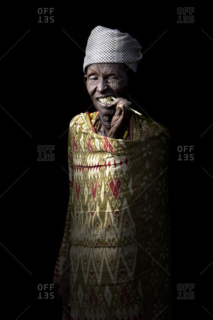 Africa - July 25, 2011: Portrait of an Arbore tribesman on a dark background
