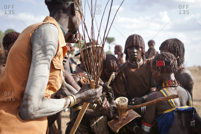 Africa - July 28, 2011: Group of Hamar tribes people interacting