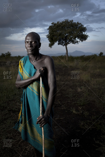 Africa - August 1, 2011: Portrait of a Mursi tribesman outside