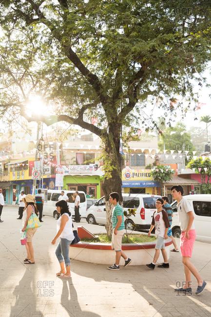 12/24/14: The busy zocalo (town square) in Sayulita, Mexico