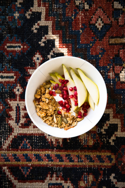 Granola with pears and pomegranates