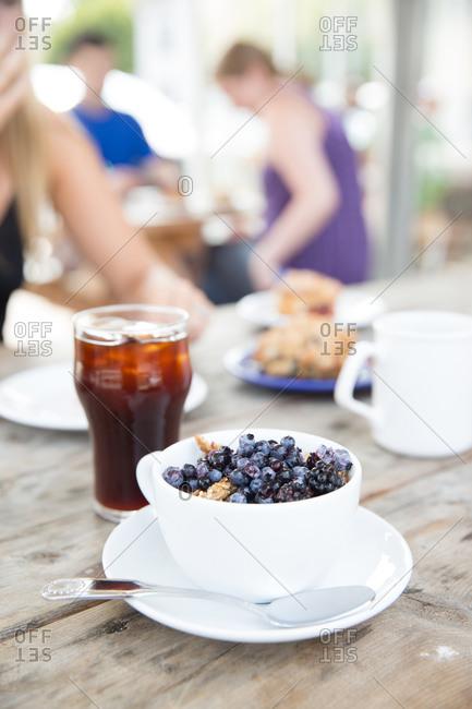 Granola and iced coffee