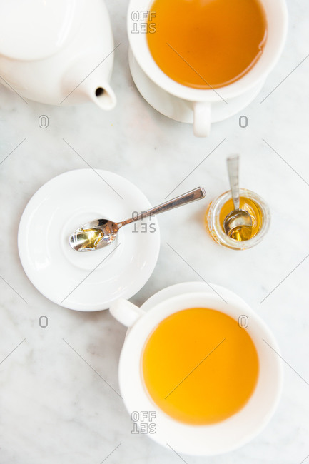 Tea cups on marble background