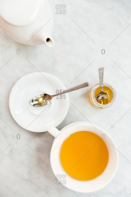 Tea cup on marble background