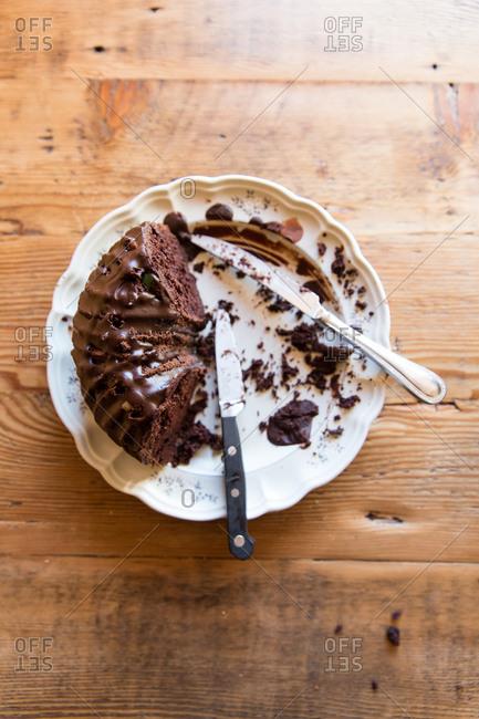 Partially eaten chocolate cake