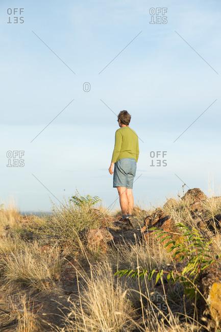A woman walks in rural Idaho