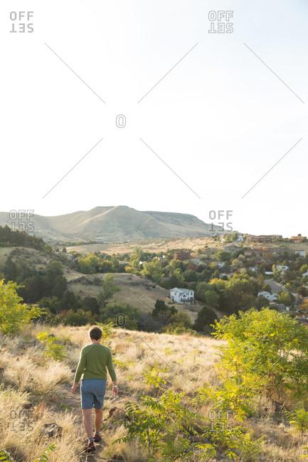 Woman walks in rural Idaho