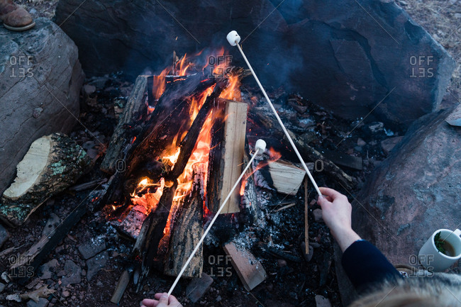 Close-up of people roasting marshmallow over a campfire