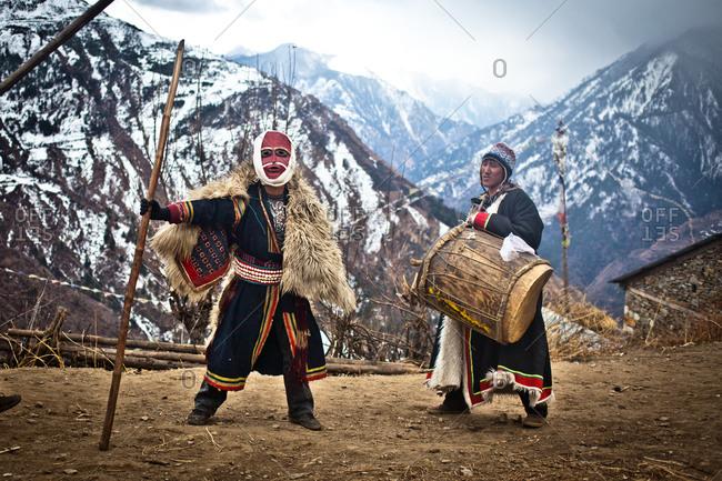 Humla, Nepal - February 14, 2014: Masked dancer, Mani Festival, Humla, Nepal