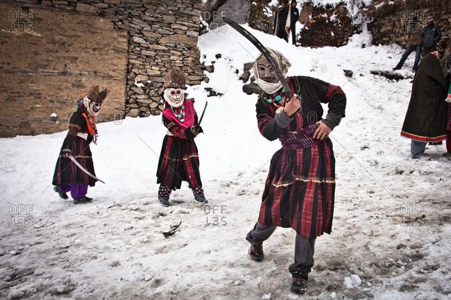 Masked dancer, Mani Festival, Humla, Nepal