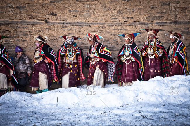 Humla, Nepal - February 17, 2014: Women performing at Mani Festival, Humla, Nepal