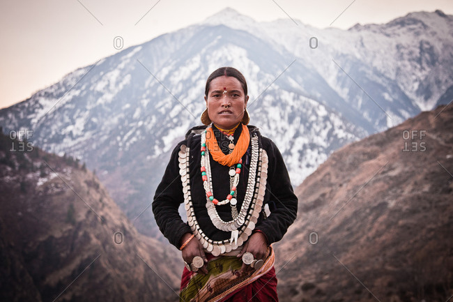 Humla, Nepal - February 24, 2014: Woman in festival costume, Humla, Nepal