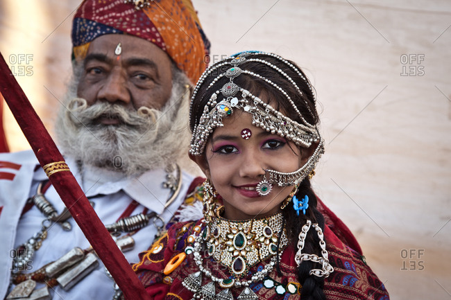 Rajasthan, India - January 10, 2016: Girl at Bikiner Camel Fair, Rajasthan, India