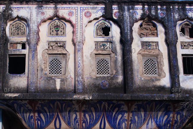 Architectural detail of a building in Pushkar, Rajasthan, India
