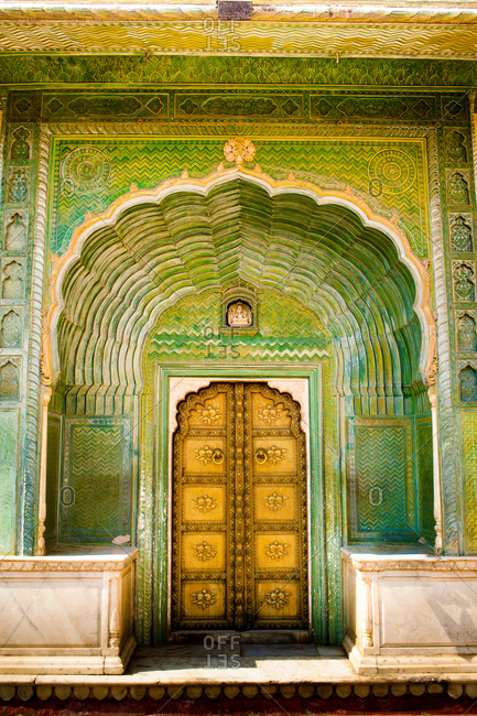 Green Gate, City Palace, Jaipur, Rajasthan, India