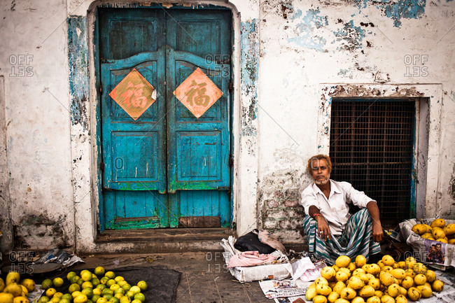 Kolkata, India - June 6, 2014: Mango seller, Chinatown, Kolkata, India