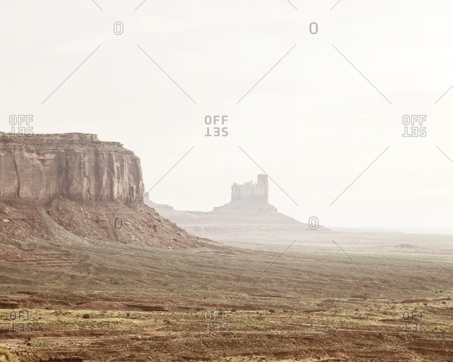 Buttes in misty Monument Valley