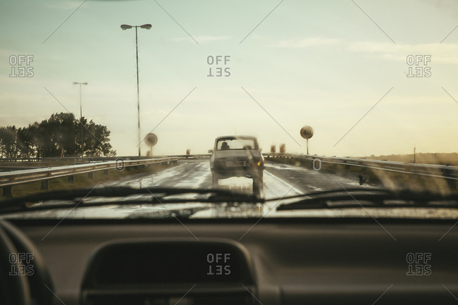 Car driving on a European freeway