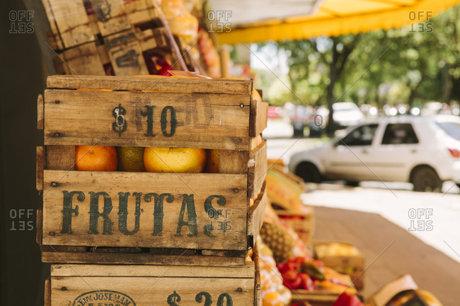 Crates of fruit at an outdoor market