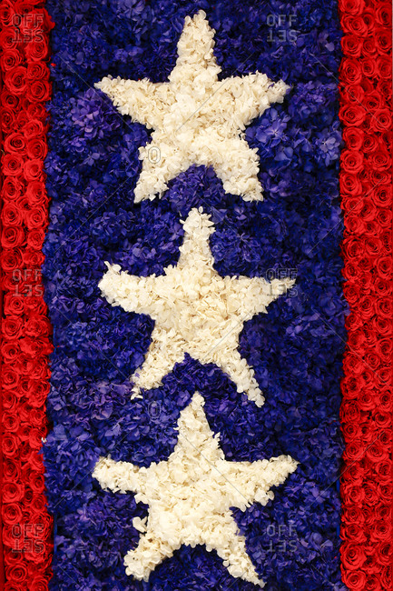 A patriotic stars and stripes floral display