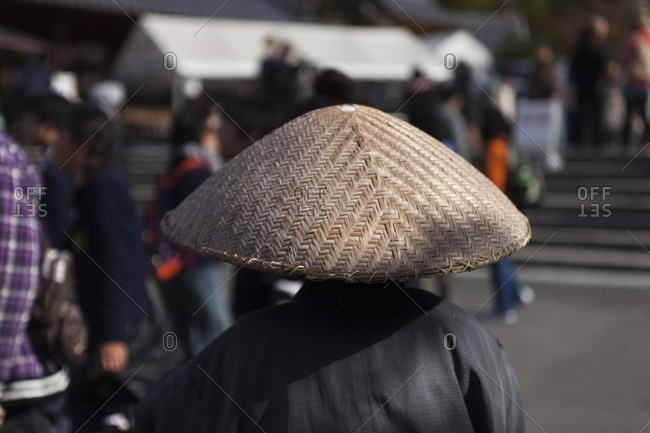 A Japanese monk wearing hat