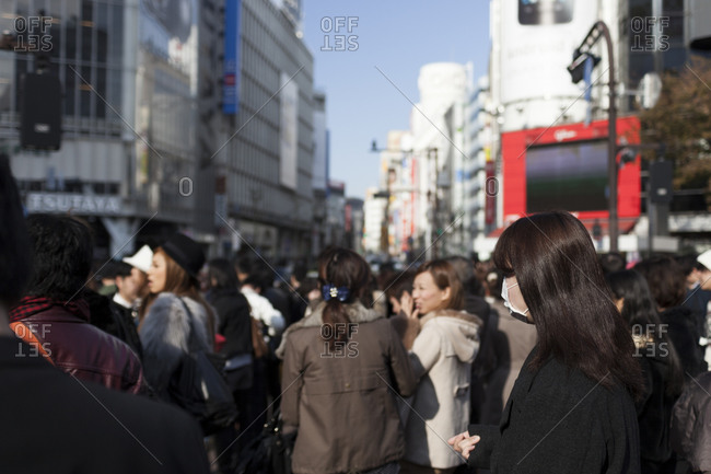 Tokyo, Japan - November 26, 2011: Crowded street scene in Tokyo