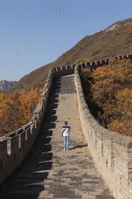 Woman standing on Great Wall in China