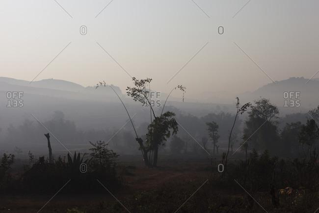 Foggy landscape in Myanmar