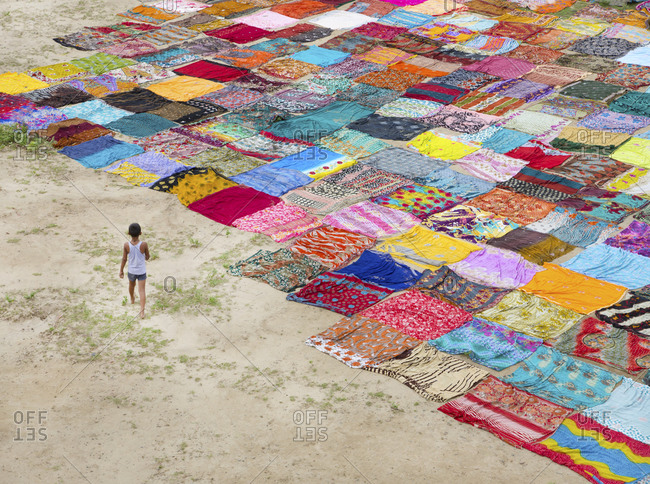 Drying washed saris in the sun in Agra, India