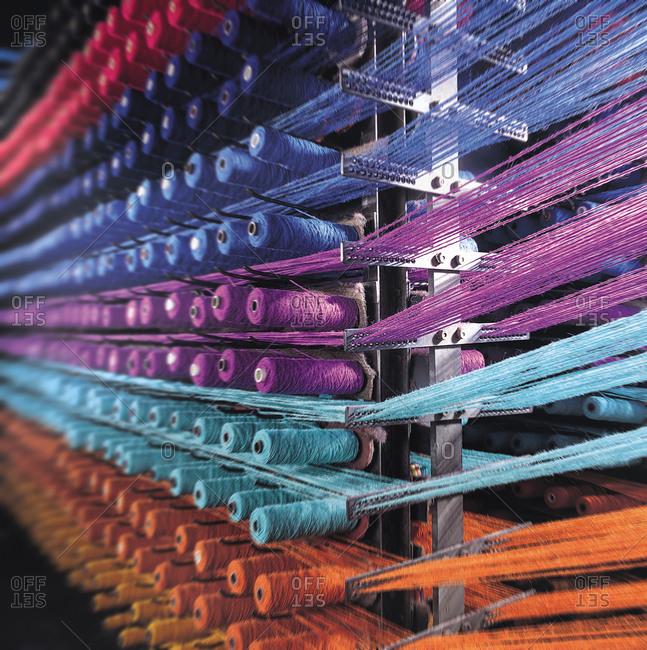 Carpet thread in creel in carpet factory