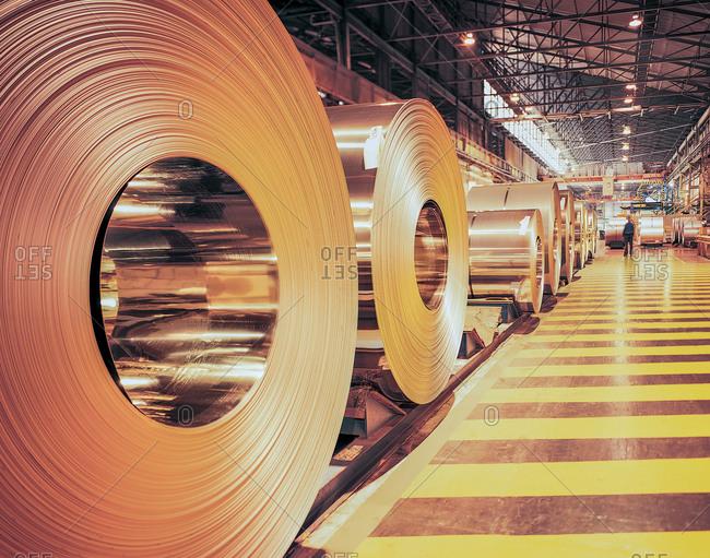 Rolls of steel in steel mill