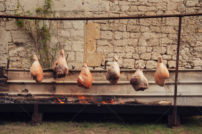 Traditional French roasting of hams