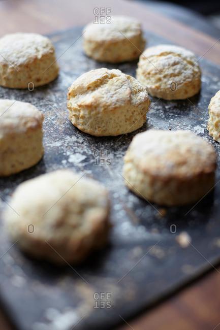 Close up of freshly baked scones on baking tray