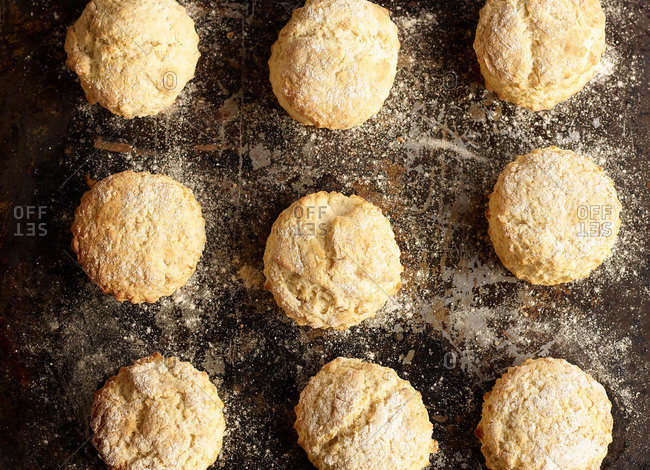 Close up of baked scones on baking tray