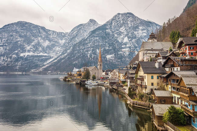 View of Hallstatter See waterfront, Hallstatt, Austria