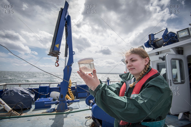 Female scientist inspecting sample of plankton on research ship
