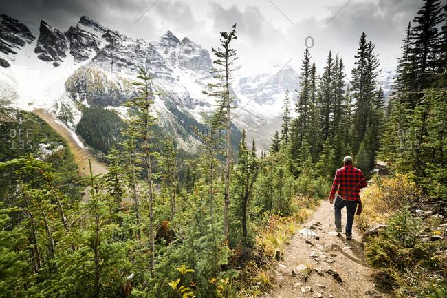 A hiker in Banff National Park