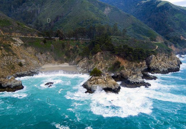 Coastal view of waves crashing