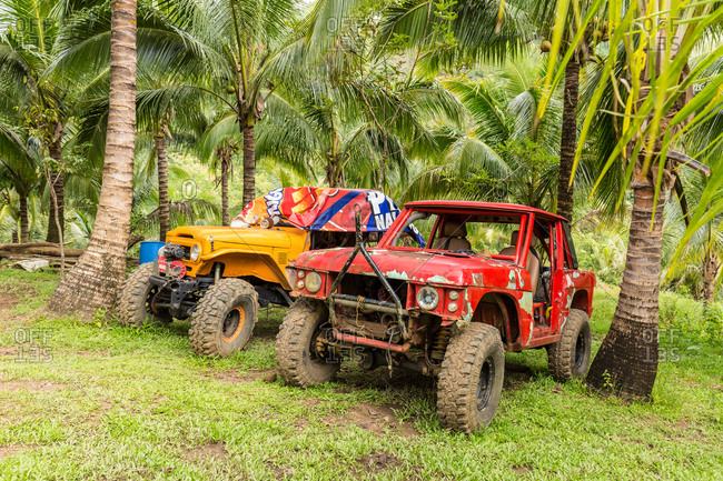 Manila, Philippines - December 25, 2015: 4x4 vehicles parked between palm trees in the Philippines
