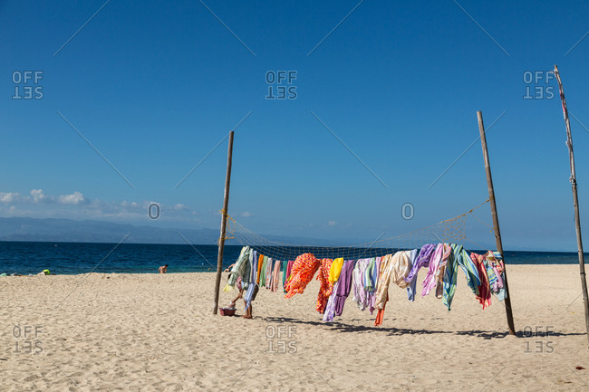 Clothes drying on net on White Beach, Philippines
